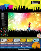 Web site layout with music event subject — Stock Vector
