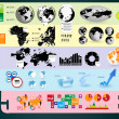 World Map and Information Graphics — Imagen vectorial