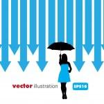 Silhouette of girl, vector — Stock Vector