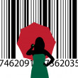 Bar code and woman — Stock Vector