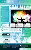 Макет веб-сайта с темой события музыки — Cтоковый вектор