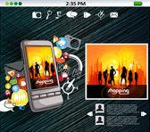 смартфон с применением — Cтоковый вектор