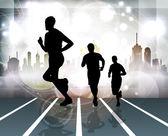 Miasto sportu. biegacz. wektor — Wektor stockowy