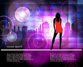 Silhouette of girls, vector — Stock Vector