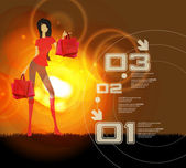 Beautiful woman with shopping bag — Cтоковый вектор