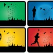 Set of runners silhouette  — Stock Vector