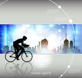 Cyclist abstract background, vector illustration — Cтоковый вектор
