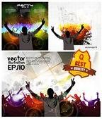 Dancing Young People. Vector — Stock Vector