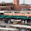 Market in the famous public square, in Marrakech, Morocco on Dec. 24, 2012. — Foto Stock
