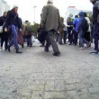 Crowd of people walk around — Stock Video