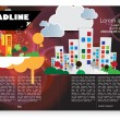 Magazine pages of city skyline — Stock Vector