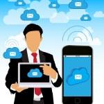 affärsman med laptop och smartphone — Stockvektor