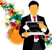 Dizüstü bilgisayar ile işadamı — Stok Vektör