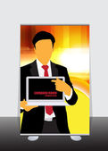 Businessman with laptop computer — Stock Vector
