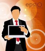 Hombre de negocios con ordenador portátil — Vector de stock