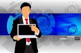 Homme d'affaires avec ordinateur portable — Vecteur