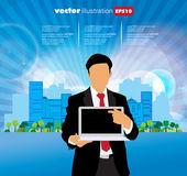 Empresario con la computadora — Vector de stock