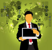 Podnikatel s přenosným počítačem — Stock vektor