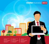 Homem de negócios com computador — Vetorial Stock