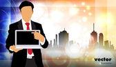 Uomo d'affari con il computer — Vettoriale Stock