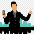 Man thumbs up with smartphone — Stock Vector