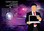 Zakenman met laptopcomputer — Stockvector