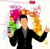 Man using smartphone — Stock Vector