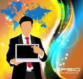 Manager con computer portatile — Vettoriale Stock