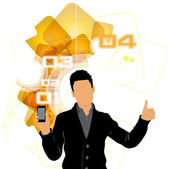 Man met smartphone — Vector de stock