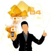 Uomo tramite smartphone — Vettoriale Stock