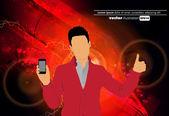 человек с помощью смартфона — Cтоковый вектор