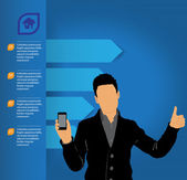 Man using smartphone — Stockvector