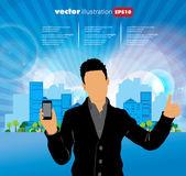 Man using smartphon — Stock Vector