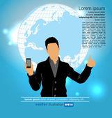 Man thumbs up with smartphone — Stockvektor