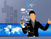 Man anläggningen smartphone — Stockvektor