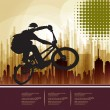 Bicyclist on the urban background — Stock Vector #34547123