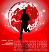 Runner around the world — Stock Vector