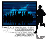 Runner with city background — Stock Vector
