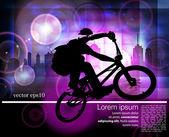 Ciclista en el fondo urbano — Vector de stock