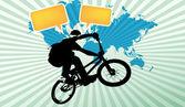 Bmx の自転車と音声アイコン — ストックベクタ
