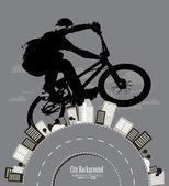 Cycliste sur le contexte urbain — Vecteur