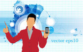 Man with smartphone — Vector de stock
