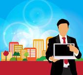 Homme d'affaires avec ordinateur — Photo