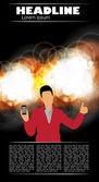 Muž s smartphone — Stock vektor