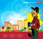 Funny Photographer. — Stock Vector
