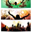 Vivid music banners set — Stock Vector