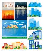 City background set — Stock Vector