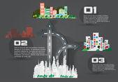 City with road arrows — Stock Vector