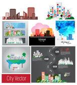 City skyline set — Stock Vector