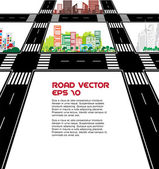 Road and city — Stock Vector